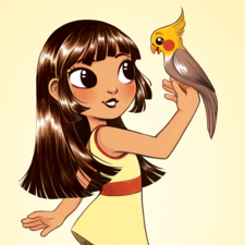 A girl and her pet cockatiel