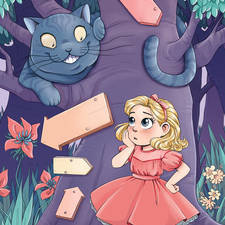 Alice in Wonderland with the Cheshire Cat