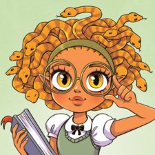 A gorgon girl dressed for school