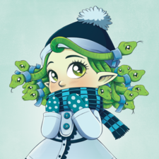 Gorgon girl and her snakes dressed for winter