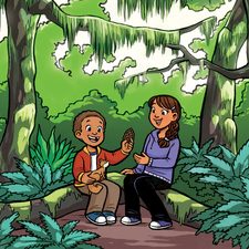 A girl and her brother sitting on a log in a forest