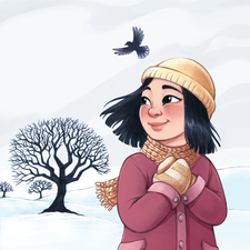 A girl in a winter landscape