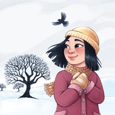 A girl in a winter landscape