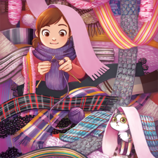 A girl knitting while she and her cat are surrounded by scarves