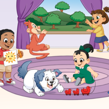 Four children and two animals in a playroom
