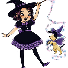 A girl making an outfit for her dog with magic