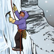 A girl climbing a snow covered mountain