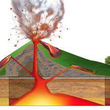 volcano crater cut