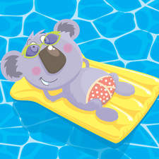 Happy Days - koala enjoying the sun in his sunnies and undies.