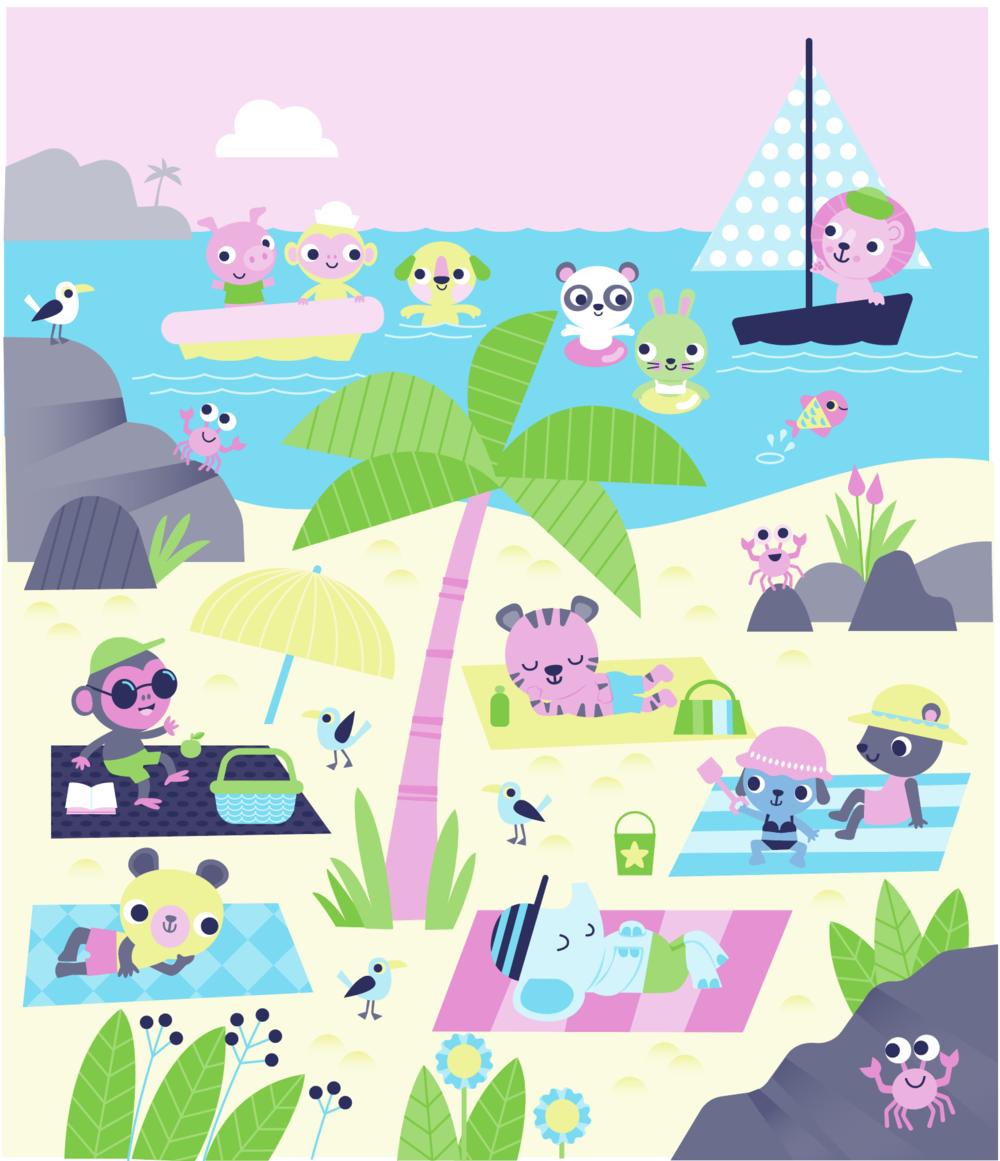 Self initiated illustration of beach scene