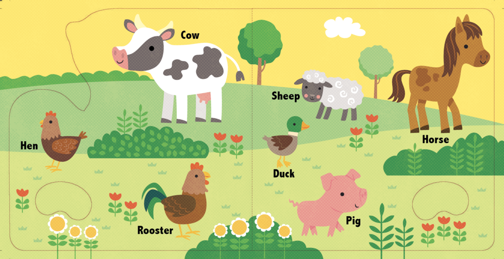 Spread for book showing Farm Animals