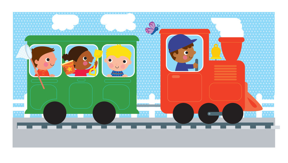 Colourful train with driver and children