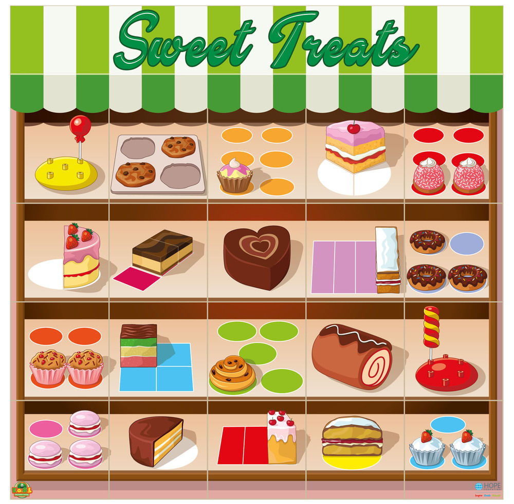 Game mat of sweet and cake shop
