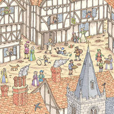 Illustration showing the daily life in Tudor times that might have influenced the plays of William Shakespeare.