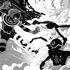 Interior splash page for Ade Adepitan's Cyborg Cat And The Night Spider from Piccadilly Press.