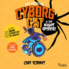 Ade Adepitan's Cyborg Cat launch banner featuring main cover image.  This was drawn and assembled by myself for promo purposes only.