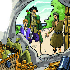 "Illustration for an abridged version of ""Treasure Island""."
