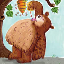 A Bear eating honey