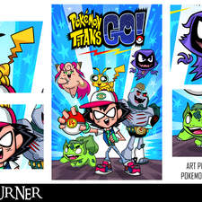 """An alternative mashup fan-art poster to the animated tv series """"Pokemon"""" and """"Teen Titans Go"""""""