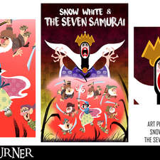 """An alternative mashup fan-art poster for the animated film """"Snow White and the Seven Dwarfs"""" and the film """"Seven Samurai"""" in the style of """"Samurai Jack"""""""