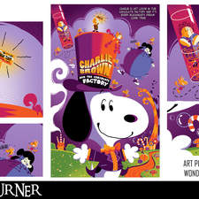 """An alternative mashup fan-art poster to the film """"Charlie and the Chocolate Factory"""" and """"Peanuts"""""""