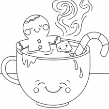 Gingerbread man, relaxing in a cup of hot chocolate.