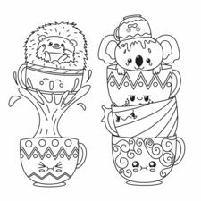 Kawaii Hedgehog and Koala in tea cups