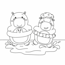 Kawaii Hippos in a puddle