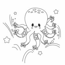 Kawaii Octopus on skates