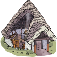 Anglo-Saxon wattle and daub hut, cutaway