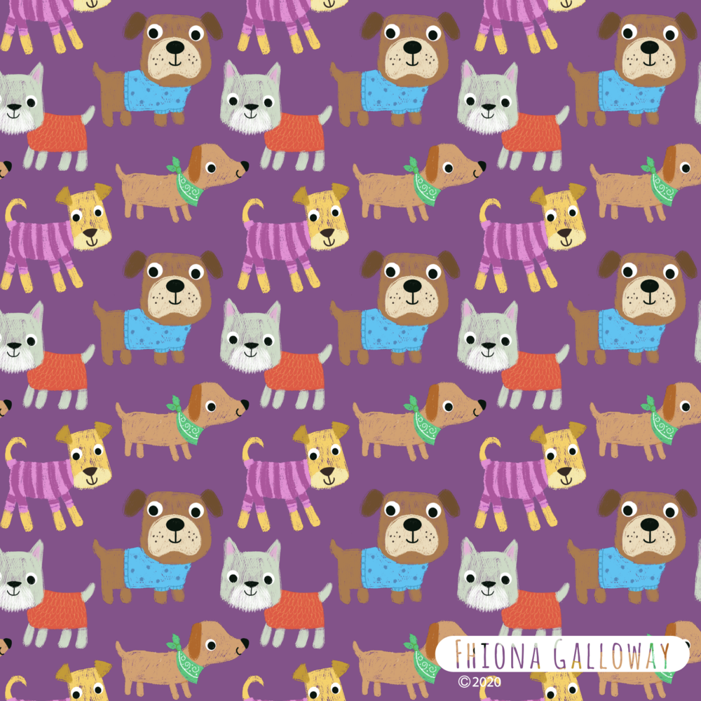 dog pattern- always enjoy a pattern design-these dogs are fun with their clothes on!
