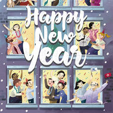 Happy new year postcard for AVK group
