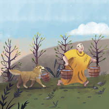 Illustration for a children book about three monks