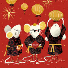 Illustration for a postcard about the chinese new year