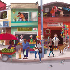 This is an illustration for Cucú magazine, inspired in Colombian neighborhoods.