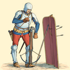 Heavy crossbowman also called arbalist from the 15th century.