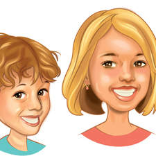 Portrait/caricature of children.