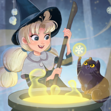 Illustration of a witch brewing wintery holiday magic, in her cauldron with her little black cat friend!