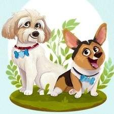 Illustration of a dainty Cockapoo named Miss Penny and a dashing Corgi, Mr. Darcy.