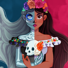 An illustration of Santa Muerte, she is female deity or folk saint in Mexican and Mexican-American folk Catholicism. She represents healing, protection, and safe delivery to the afterlife.