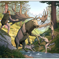 Hunting for an Irish elk in the Stone Age.