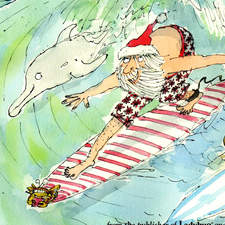 Santa Claus Catching a Wave