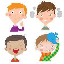Vector cartoon kids expressions