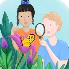 A spot illustration of two children exploring nature.