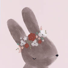 Soft brown bunny with a floral crown
