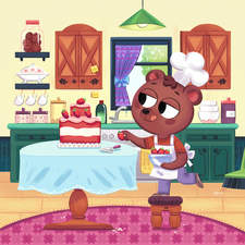 A bear cooks a delicious cake