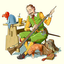 An early 17th century musketeer cleaning his gun.