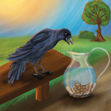 Crow putting stones in a jar of water to get the water out.