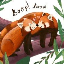 A greeting card design of red pandas for an anniversary.