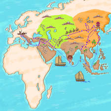 Map of the Voyages of Marco Polo - Reading Labs 2020, McGraw-Hill